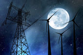 Fotografie Wind turbines and electricity pylon
