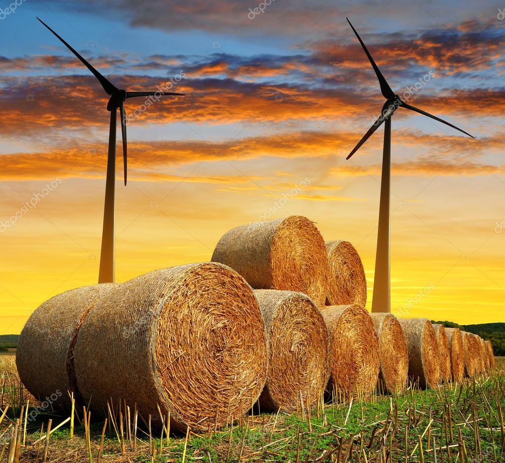 Straw bales with wind turbines