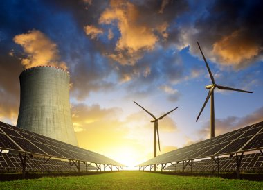 Solar energy panels, wind turbines and nuclear power plant