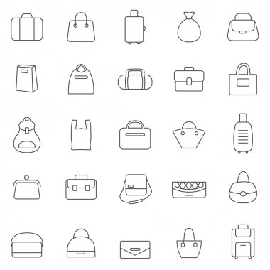 Bag icons, set.