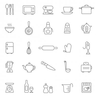 Kitchen and Utensil  icon set.