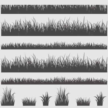 Grass silhouette elements. Vector illustration stock vector