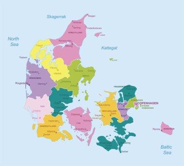 Denmark - highly detailed map.
