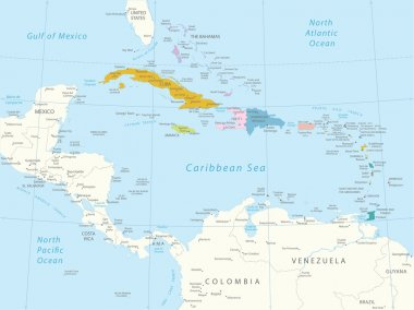 Caribbean - highly detailed map.