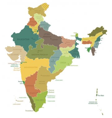 India- highly detailed map.