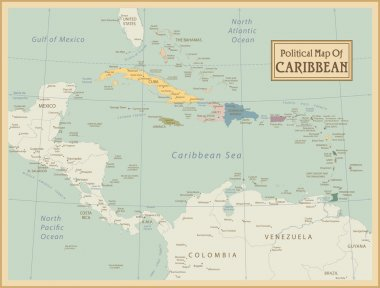 Caribbean -highly detailed map.
