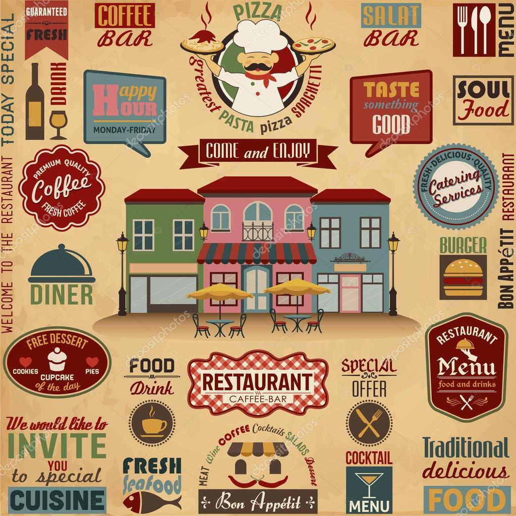 Restaurant design elements — stock vector ekler