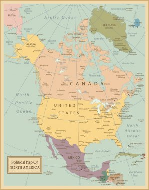 North America -highly detailed map.