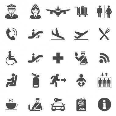 Airport black icons