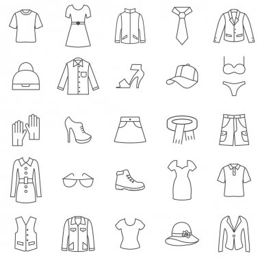 Clothes line icons set