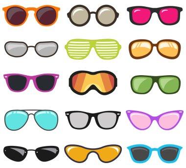 Colorful glasses set. Vector illustration stock vector