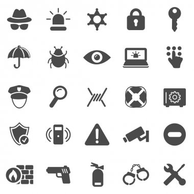 Security black icons set. Vector illustration stock vector