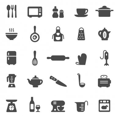 Kitchen and Utensil black icons