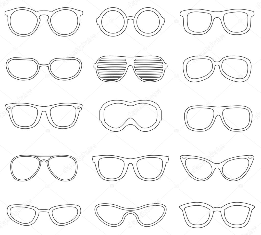 Glasses line icons