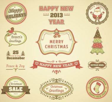 Christmas retro labels