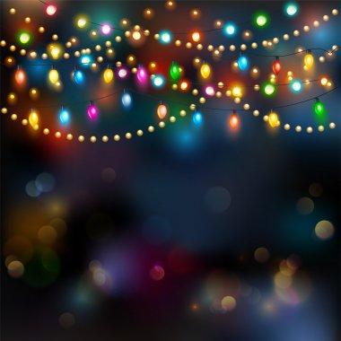 Christmas lights background, happy holiday season clip art vector