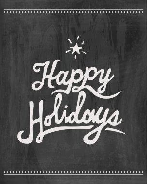 Black Happy holidays chalkboard clip art vector