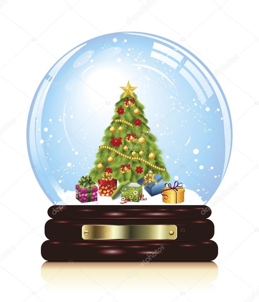 Schneekugel mit Weihnachten Zeichen — Stockvektor © Ekler #88230136