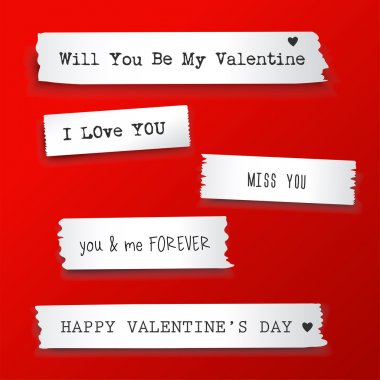 Valentine paper banner with text messages.