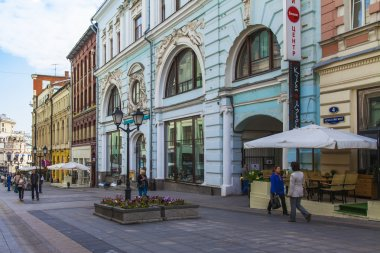 Moscow, Russia, on September 9, 2014. The pedestrian zone in the downtown. Kuznetsky Bridge Street