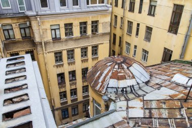 St. Petersburg, Russia, on November 2, 2014. An apartment view from the window to the typical old city yard well