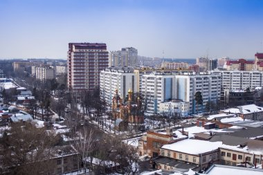 Pushkino, Russia, on March 20, 2011. A view of the city from a window of the multi-storey building in the early spring