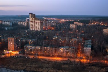 Pushkino, Russia, on April 23, 2011. A night view of the night city from a high point