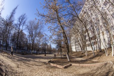 Pushkino, Russia, on March 17, 2015. View of the city in the sunny spring afternoon, fisheye view.