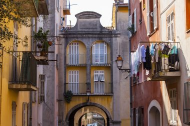 Nice, France, on March 13, 2015. The old city, typical architectural details in Provencal style