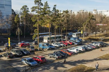 Pushkino, Russia, on April 10, 2015. A view from the window on the street and a parking of cars