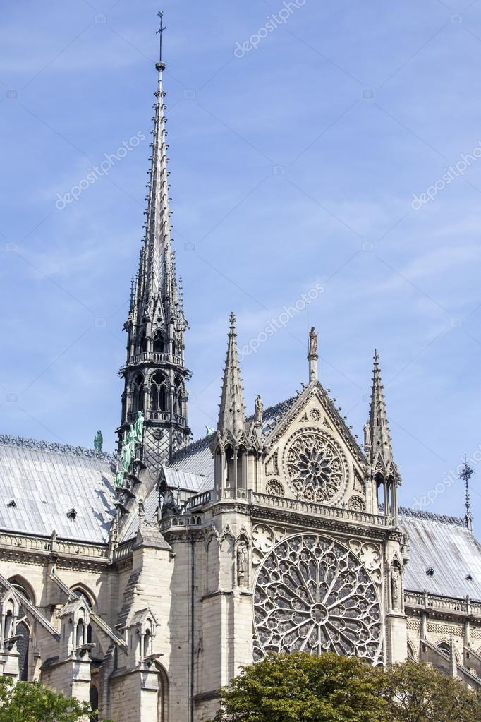 Paris France On August 30 2015 Architectural Details Of Notre