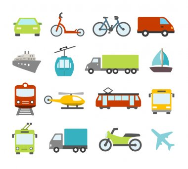 Transport Icons In Flat Design Style