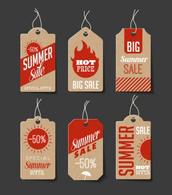 Collection of cardboard sales labels, Can be used as price tags. stock vector