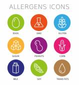 Alergeny ikony Set