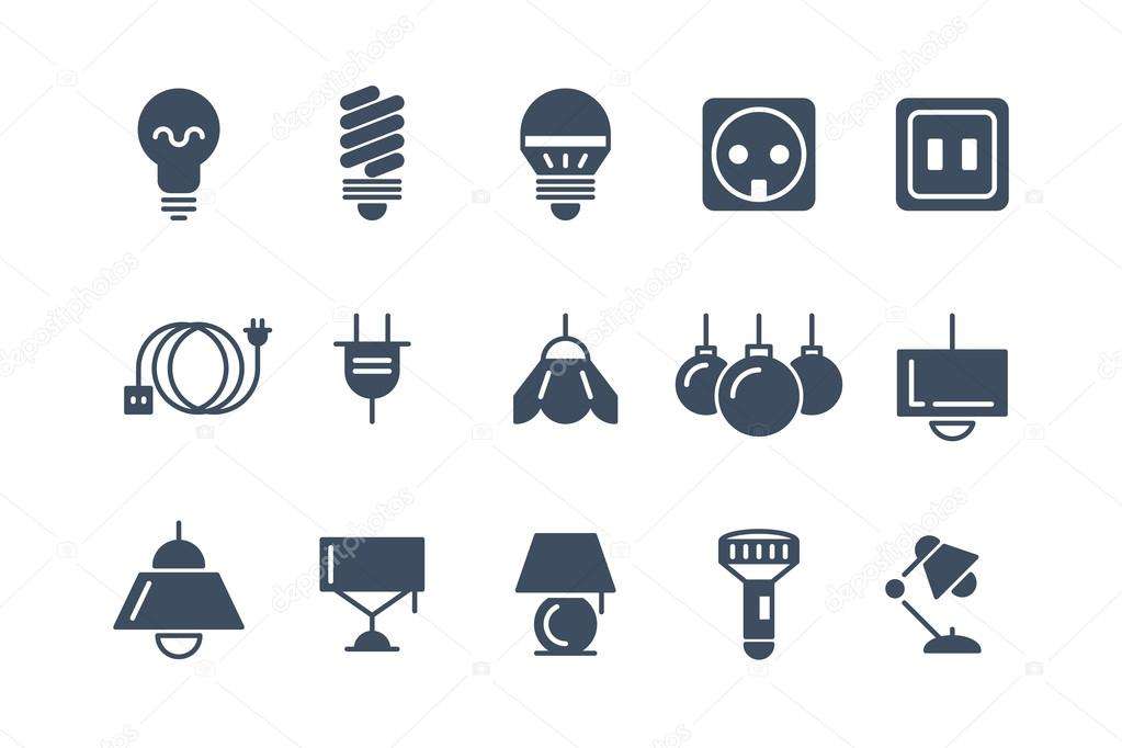 Lamp and bulbs black vector icons set. Electrical symbols — Stock ...