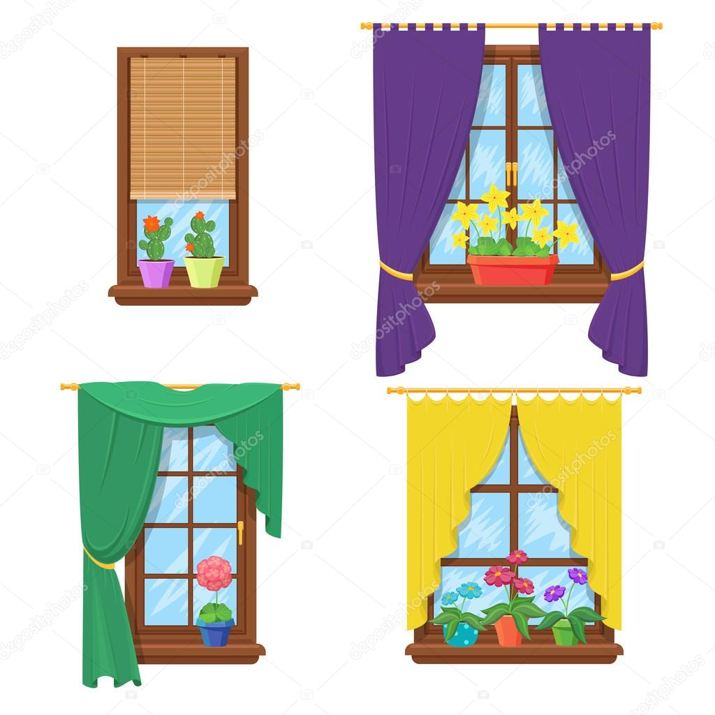 Windows with curtains and flowers. Vector set — Stock Vector ... for Window With Curtains Illustration  174mzq