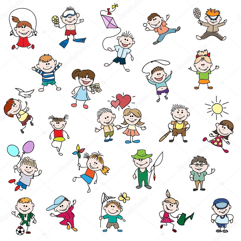 Dibujos para niños de doodle personas — Archivo Imágenes Vectoriales ...