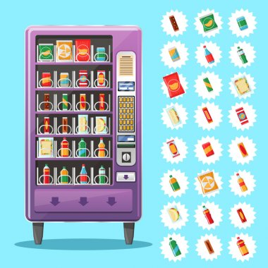 Vending machine with snacks and drinks. Vector illustration