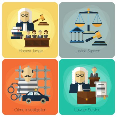 Legal services, law and order, justice vector flat concept set