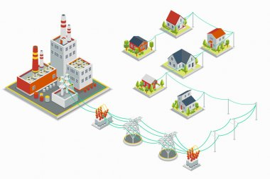 Powerhouse and electric energy distribution vector infographic. 3D isometric concept