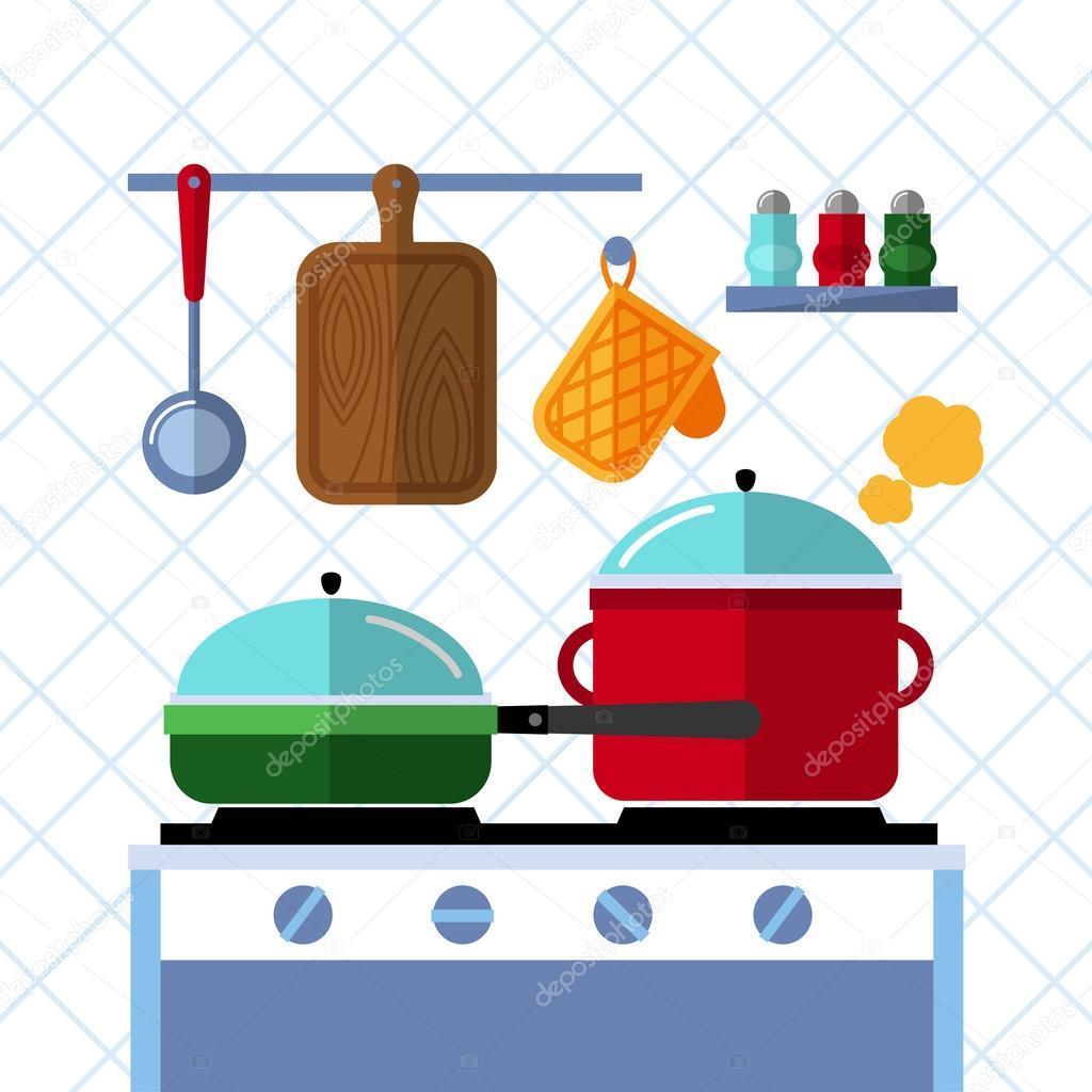 Ollas y sartenes en una estufa cocina cocina fondo de - Ollas de cocina ...