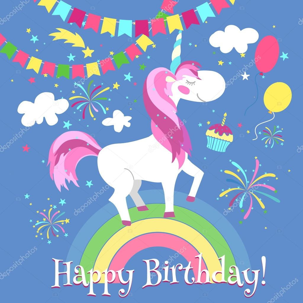 Happy Birthday Card With Cute Unicorn Vector Template On Rainbow Fairytale Fantasy Illustration Vektor Von