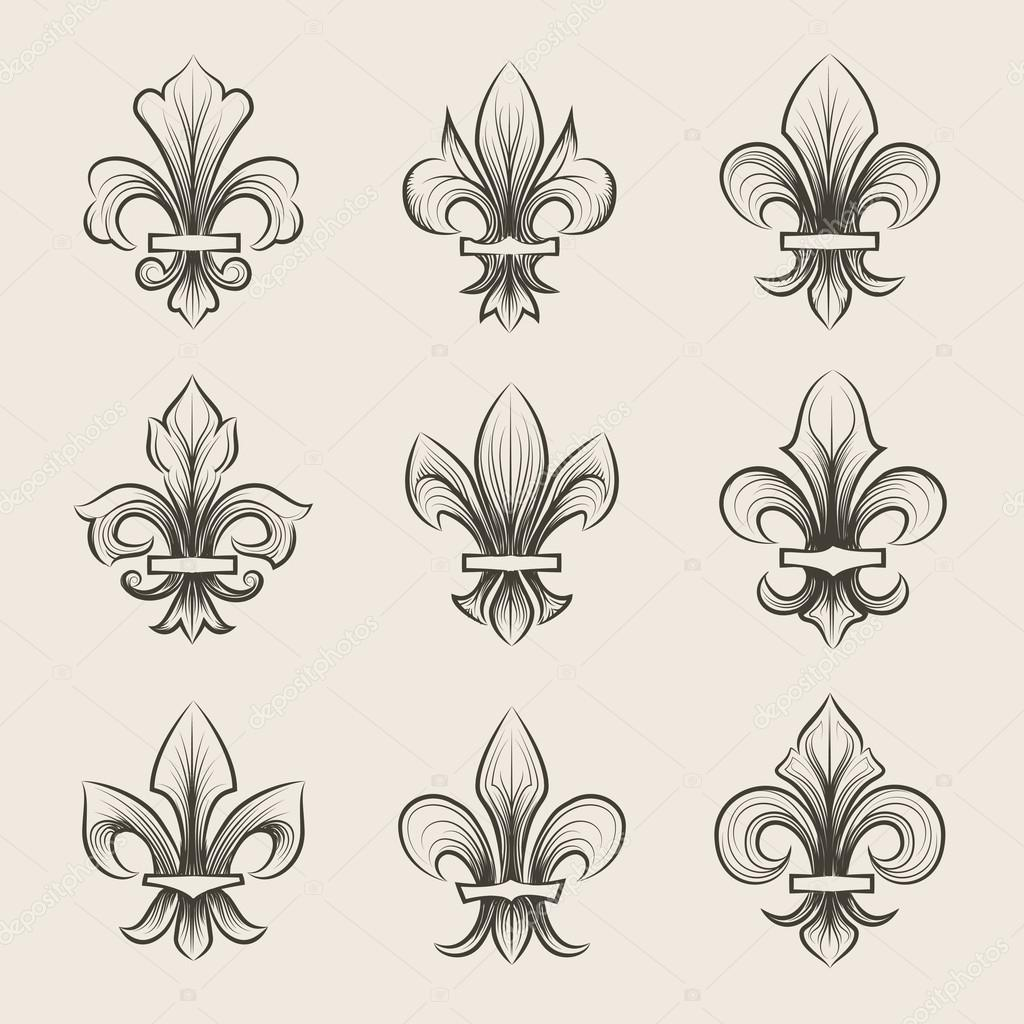 Fleur de Lis Gravur stellen icons — Stockvektor © MSSA #107504212