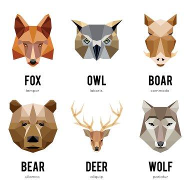 Low polygon animal logos. Triangular geometric animals logo set
