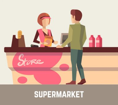 Supermarket store assistant, cashier woman at cash register and customer. Vector illustration