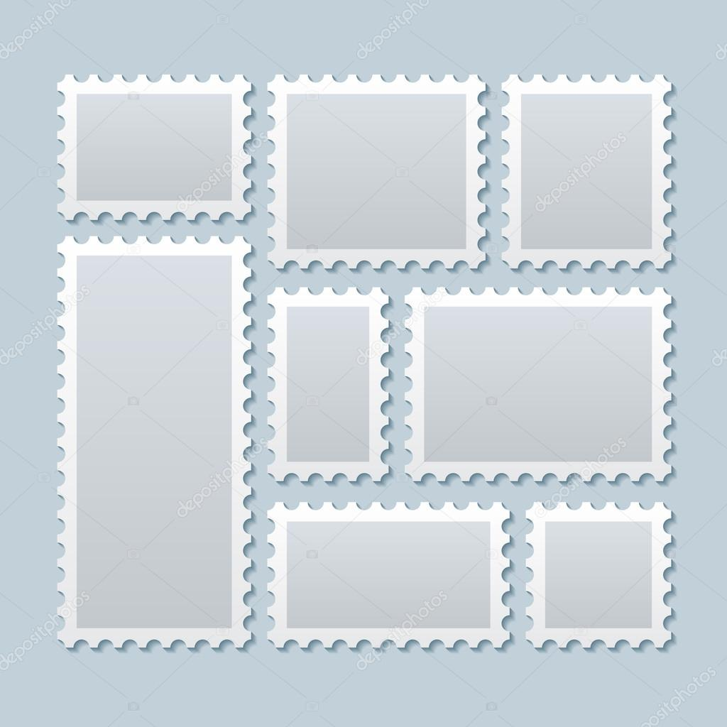blank postage stamps in different size vector template stock
