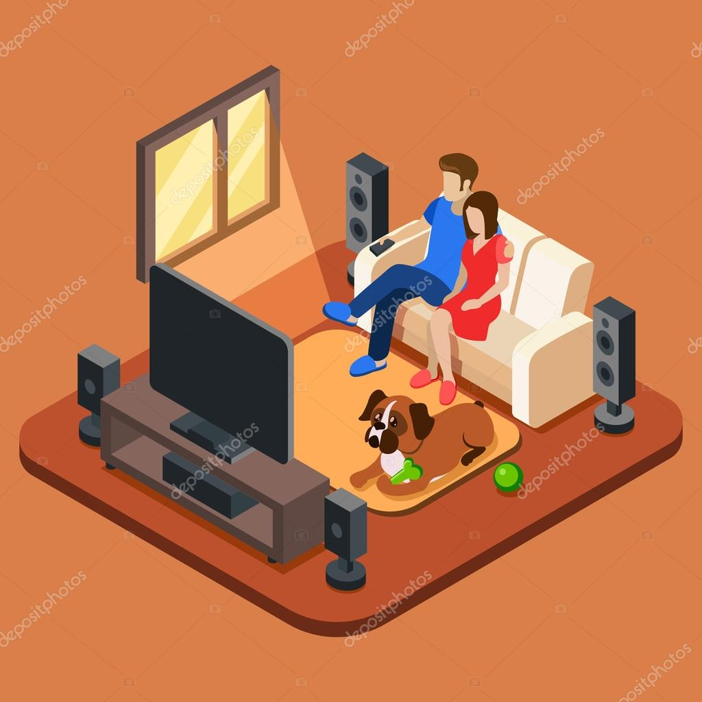 Family In The Living Room Watching Tv 3d Isometric People Concept