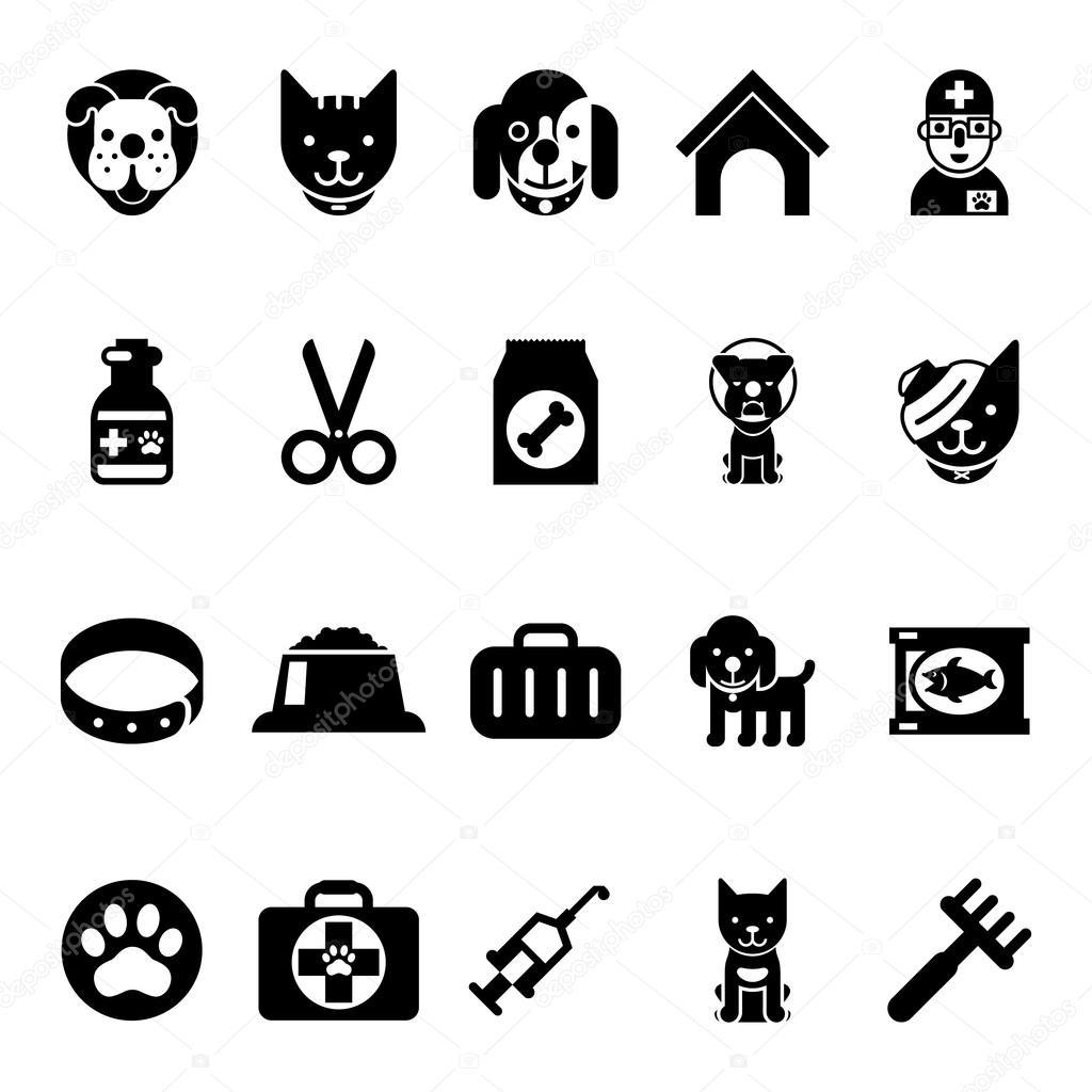 Amado Animais de estimação ícones, ícones de clínica veterinária e  VC91