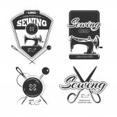 Tailor shop retro vector logo, labels and badges set