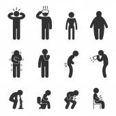 Symptoms of people disease icons. Sick and ill Stock Illustration